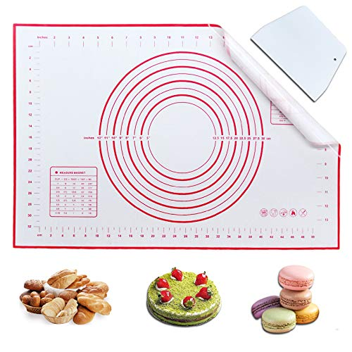 """Haozcl Silicone Baking Mats Non Slip Pastry Mat Extra Large With Measurement 16""""W x 24""""L, Baking Supplies, Dough Scraper,Bread Making Tools,Macaron Cookie Fondant Mat(Red)"""