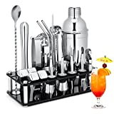 Cocktail Shaker Set, 23-Piece Stainless Steel Bartender Kit with Acrylic Stand & Cocktail Recipes Booklet, Professional Bar Tools for Drink Mixing, Home, Bar, Party (Include 4 Whiskey Stones)