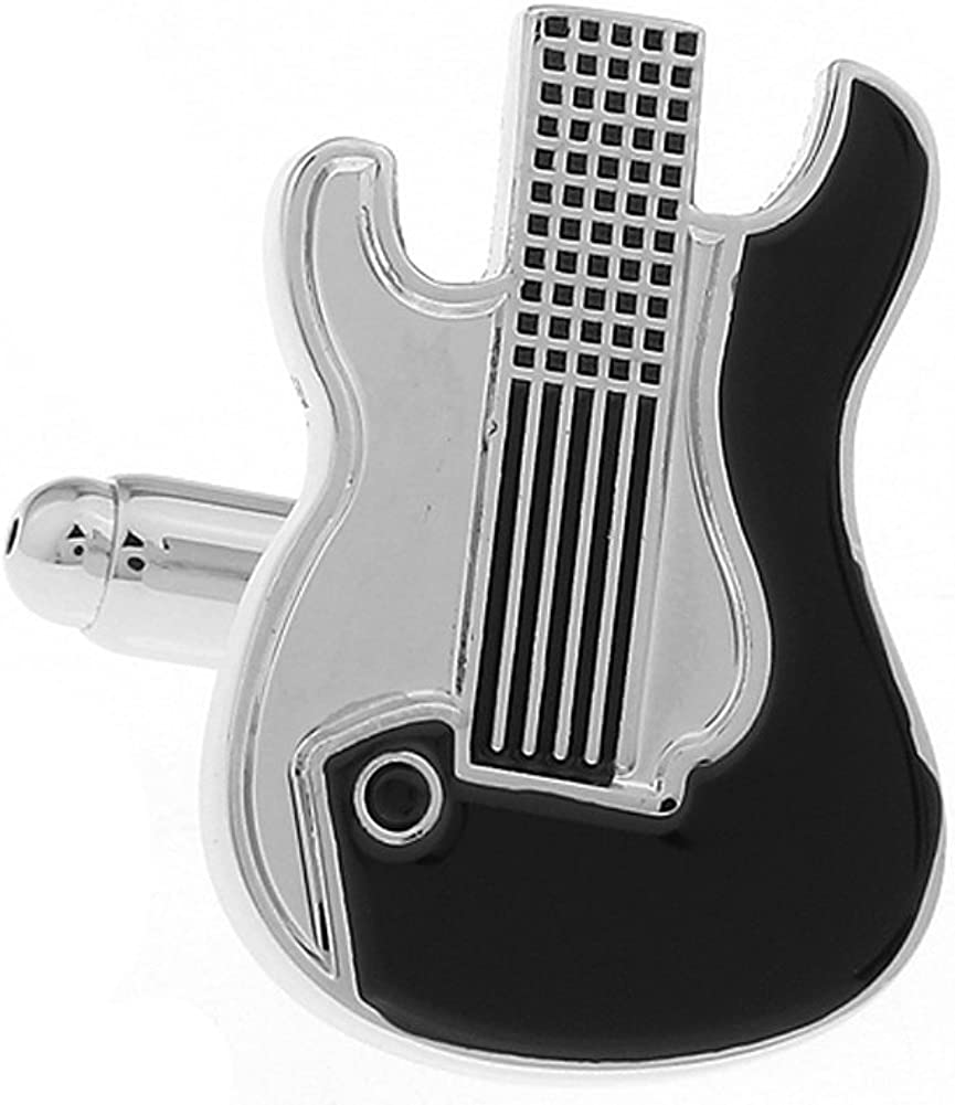 Mens Executive Cufflinks Music Collection Black Midnight Show Rock Band Electric Guitar Body Cuff Links