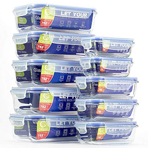 CREST Lot de 10 Récipient en Verre - Boîtes Alimentaires - Contenants de Stockage de Repas en Verre, sans BPA