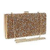 ClearloveWL Bolso de noche para mujer, con diamantes de imitación, cadena de cristal, bolso pequeño, bolso de boda, fiesta, noche (color dorado)