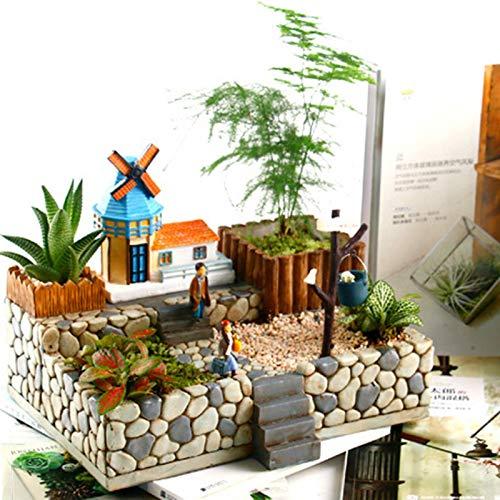 favourall Harz Sukkulenten Topf Mit Drainage Loch, Mini Garten Mikro Landschaft Kaktus Pflanze Töpfe Klein Innen Blumentopf Übertopf Für Zimmerpflanzen Kakteen Moos Innenbereich