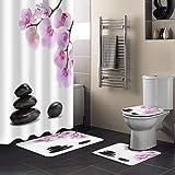 Minyose Orchidee Schwarz Stein Rosa Blume Weiß Duschvorhang Teppichabdeckung Toilettenbezug Badmatte Pad Set Bad Vorhang Wohnkultur 180 * 180Cm