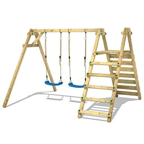 WICKEY Kinderschaukel Schaukelgestell Smart Up - Schaukel, Schaukelgerüst, Doppelschaukel, Holzschaukel mit Kletteranbau