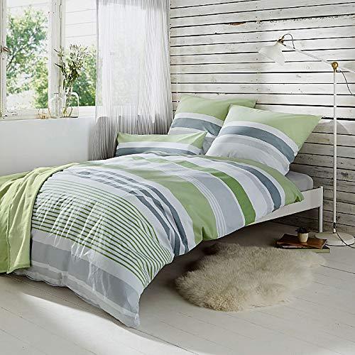 REDBEST Bettwäsche, Bettgarnitur Renforcé grün Größe 135x200 cm (40x80 cm) - mit praktischem Reißverschluss anschmiegsam, strapazierstark, 100% Baumwolle