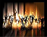 Cartel De Seda 3D Papel Tapiz Mural Cartel De Seda 3D Mural Rock Street Dance Música Personajes Carnaval Bar Mural Ktv Fondo Papeles De Pared Decoración Del Hogar-150Cmx105Cm(Lxa)