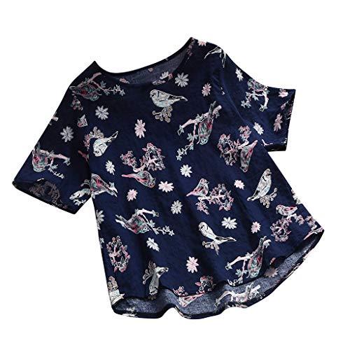 Womens Zomer T-Shirt Casual Bloemen Gedrukt Korte Mouw Blouse Losse Katoen Linnen O-hals Tops Zomer Vakantie Zachte Kleding