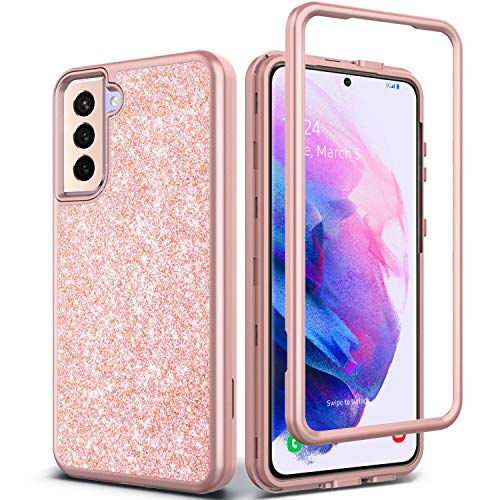 Coolwee Pink Full Protective Case for Galaxy S21 Plus 5G Heavy Duty Hybrid 3 in 1 Rugged Shockproof Women Girls Transparent for Samsung Galaxy S21 Plus 6.7 inch Rose Gold