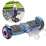 E-Balance Scooter City-Cruiser Balance Scooter 8 Zoll Mit Bluetooth-Musiklautsprecher, Smart Buntes Blitzrad, Segway Neues Modell Spielzeug Und Geschenk Für Kinder,Blau