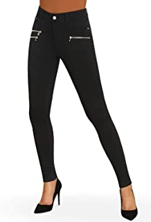 Bamans Women's Super Soft Skinny Stretch 5 Pockets Modern Ponte Knit Leggings w/Zipper Details
