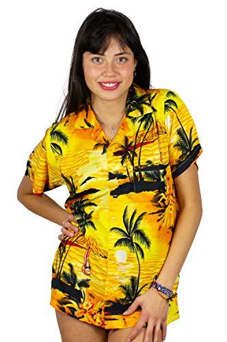 V.H.O. Funky Hawaiibluse, Hawaiihemd, Kurzarm, Surf, Gelb, S