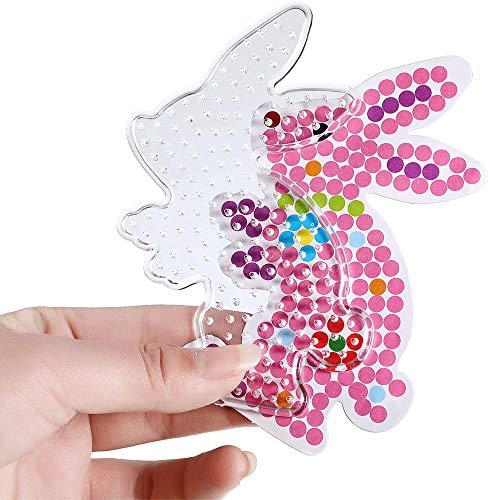Jimiston 14 pièces différentes de Fer sur des plaques de Perles, Perles Panneaux Transparents avec des pincettes pour Bricolage à la Main Enfants Cadeau
