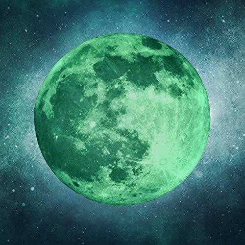 leuchtender Mond (50cm) - Selbstklebender Leuchtmond Wandsticker - Wandaufkleber als Dekoration für Kinderzimmer