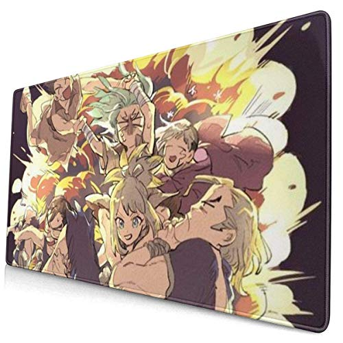 xiangcheng Extra großes Mauspad - Anime Manga Dr Stone Romance Schreibtisch-Mauspad - 15,8 x 29,5 Zoll XL-Schutz-Tastatur-Schreibtisch-Mausmatte