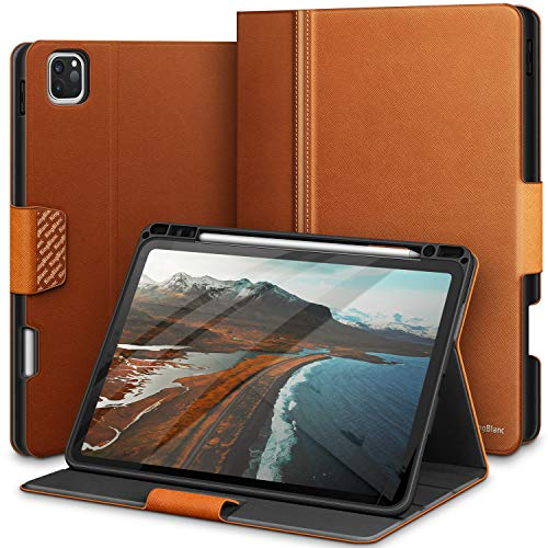 KingBlanc iPad Pro 11 Case 2020 2nd Generation with Apple Pencil Holder, Support Apple Pencil Pair/Charging, Auto Sleep Wake Function, PU Leather Smart Cover for iPad Pro 11 Inch 2018/2020 (Brown)