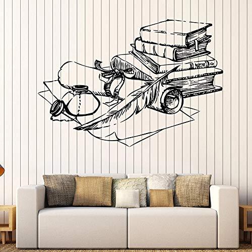 yaonuli muurstickers oude boeken inkt pen papier retro decoratieve vinyl stickers school de muurafbeelding