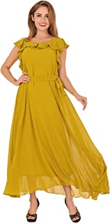 Women's 1 Piece Flounce Sleeve Top Over Long Full Chiffon Skirt