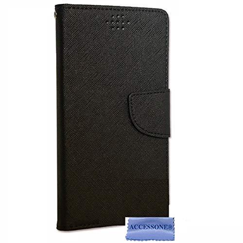 """Folio Housse Pochette Etui Universelle avec Coque incassable Compatible pour KLIPAD V356 4G LTE (5"""" Pouces ecran18:9) (Folio Noir)"""