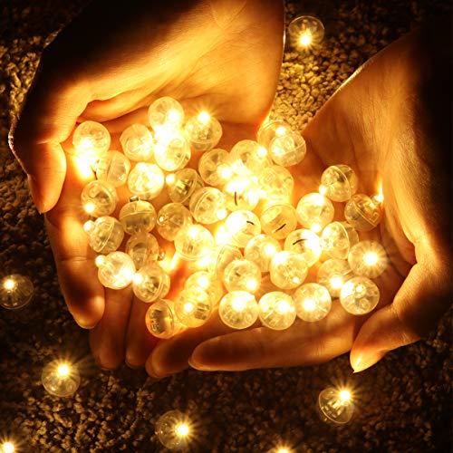 OSALADI - 100 lampadine a LED a palloncino, super luminose, rotonde, per feste di Halloween, Natale, matrimonio, lanterne di carta (luce calda)