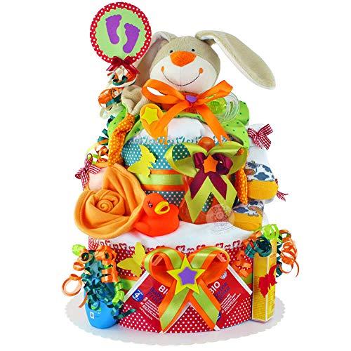 MomsStory - Windeltorte neutral   Bunny-Motive   Baby-Geschenk zur Geburt Taufe Babyshower   2 Stöckig (Rot-Grün) Baby-Boy & Baby-Girl (Unisex) mit Baby-Spielzeug Schnuffeltuch Lätzchen Schnuller & mehr