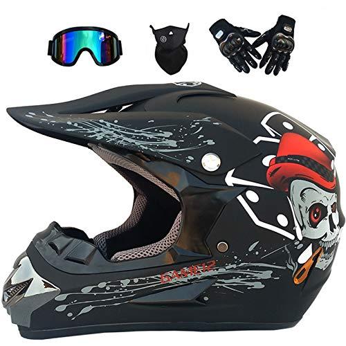 Set Casco Motocross, Casco da Motociclista Bambino 6~14 Anni per BMX Quad Bikes ATV Casco Motociclista Integrale Adulti per adulti con Guanti/Occhiali/Maschera - Teschio Nero Opaco - S/M/L/XL,XL