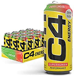 C4 Energy Carbonated Zero Sugar Energy Drink, Pre Workout Drink + Beta Alanine, Cherry Limeade, 16 F