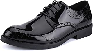 RongAi Chen Men's Fashion Oxford Casual Comfortable Round Toe Youth Trend Breathable Patent Leather Formal Shoes (Color : Black, Size : 7.5 UK)