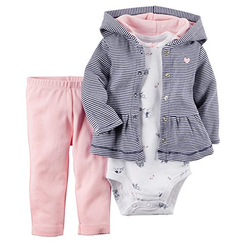 Odziezet Conjunto Recién Nacido Bebé Mono Niño Niña Abrigo Sudadera Invierno Primavera Otoño 3PC 3-18 Meses