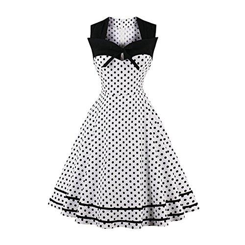 QiuLan Damen 50er Vintage Retro Rockabilly Kleid Hepburn Stil Polka Dots Kleid Partykleider Cocktailkleider Festliches Kleider(Weiß Polka Dots,XXL)