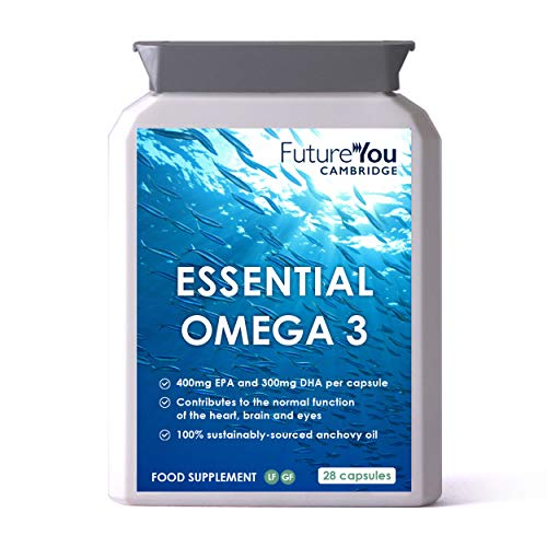 Essential Omega-3 Anchovy Fish Oil 1,000mg - High Strength EPA & DHA - Certified Sustainable by Friends of The Sea - 28 Day Supply - Developed by FutureYou Cambridge, UK