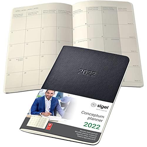 SIGEL C2285 Conceptum cuaderno agenda mensual 2022-9,3 x 14 cm - softcover - 64 páginas - negro