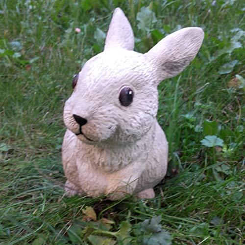 Radami Steinfigur Hase Gartenfigur Figur Steinguss frostfest Dekofigur Gartendeko Stehend Hellgrau