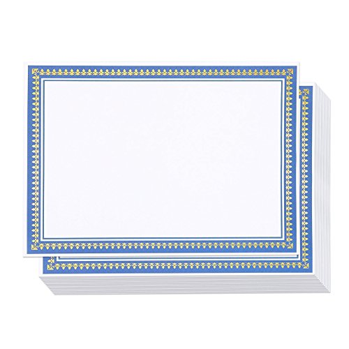 Certificate Paper with Gold and Blue Border, Award Certificates (White, 8.5 x 11 in, 50-Pack)