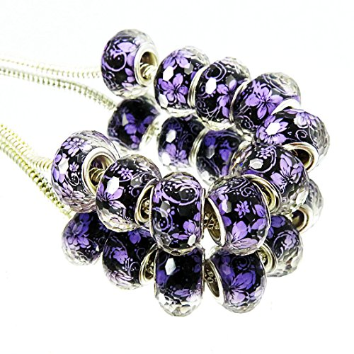 TianBo 100Pcs Silver Plate Purple Flower Them Acrylic European Charms Beads Spacers Fit European Style Beads with Plating Double Core
