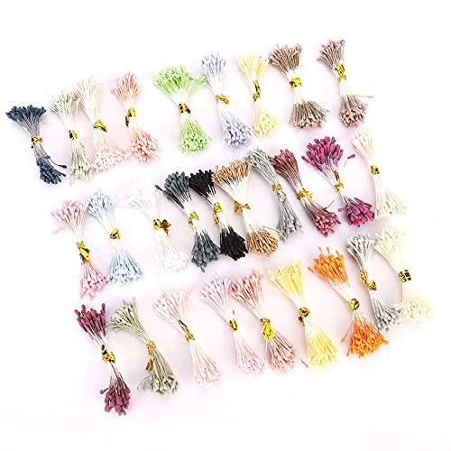 Stame di fiori, 1800 pezzi di stame di fiori artificiali Copricapo Accessorio 1mm Perla doppia teste doppie Mix di colori Pistilli di fiori Fatti a mano Fai da te Stame di fiori Forniture decorative