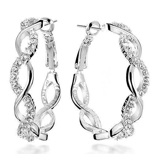 Gemini Creolen (Platin), raffinierte Glitzer & Strass Kombination mit Kristall Steinen, Luxus Design, Rundform, für jeden Anlass, beliebt bei Girls & Damen, 0,6 cm Durchmesser