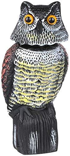 HelpAccess Búho Espantapájaros. Marrón. 41 cm. de Alto. Espanta a Las Aves molestas, Ahuyentador de Aves Tipo Estatua búho con Ojos Reflectantes