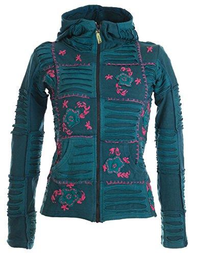 Vishes – Alternative Bekleidung – Mit Blumen bestickte Patchwork Jacke aus Baumwolle, mit Zipfelkapuze türkis-rosa 34