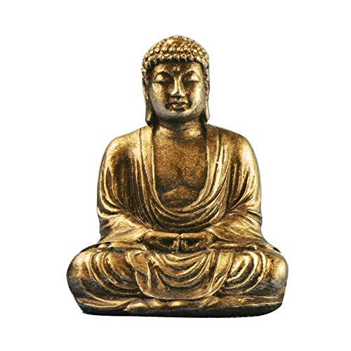 Statua di Buddha, Buddha seduto effetto pietra giardino all'aperto interno statua ornamentale (oro)