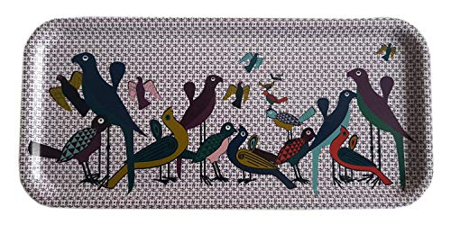 IMAGES D'ORIENT 111 Rechteckiges Serviertablett Kaffe Tee Esperesso Paradiesvogel Vintage aus Furnier Birkenholz 32x15 cm