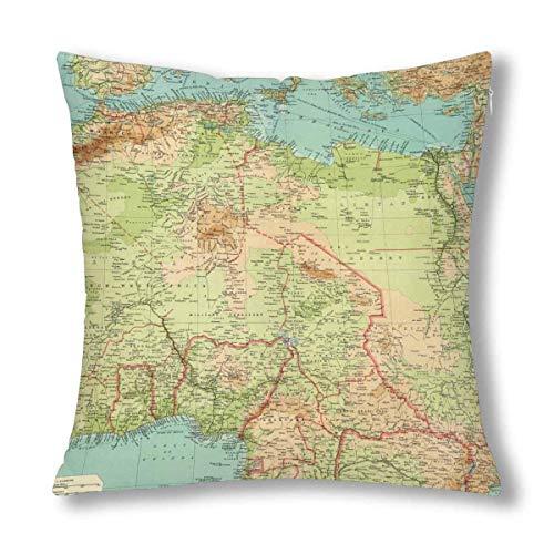 HZLM - Federa decorativa per cuscino con mappa antica del Nord Africa, 45 x 45 cm, decorazione quadrata con cerniera