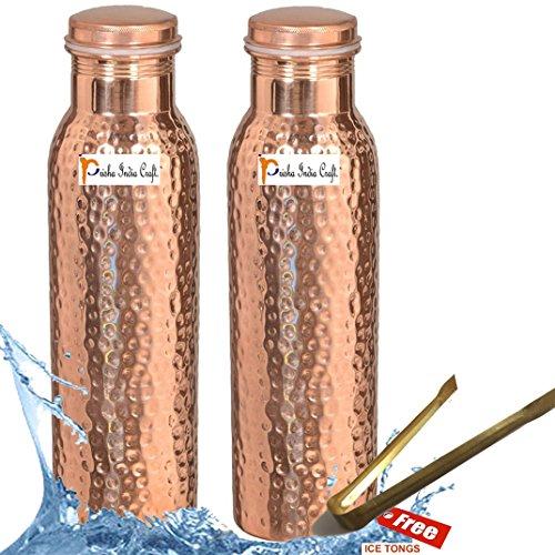 Bouteille deau en cuivre pur Forme courbe pour ayurv/édique Sant/é Avantages Joint gratuit /étanche Cuivre, 750/ml