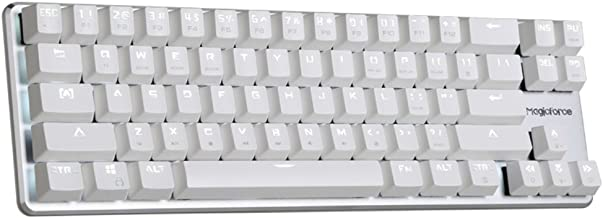 Qisan Gaming Keyboard Mechanical Wired Keyboard Cherry MX Brown Switch Backlight Keyboard 68-Keys Mini Design White
