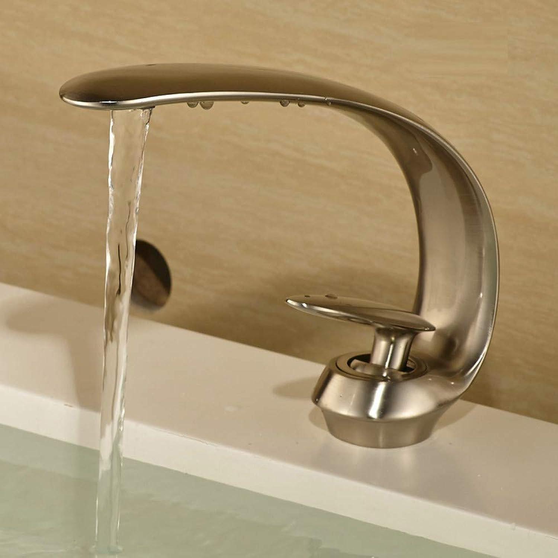 Ayhuir Einlochmontage Wasserhahn Bad Becken Wasserhahn Nickel Gebürstet Waschbecken Mischbatterie