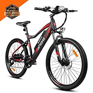 eAhora XC100 26inch 48V Mountain Electric Bike 350W Urban Electric Bikes for Adults Removable Lithium Battery, E-PAS Recharge System, Shimano 7-Speed Gear Shifts, BlackRed