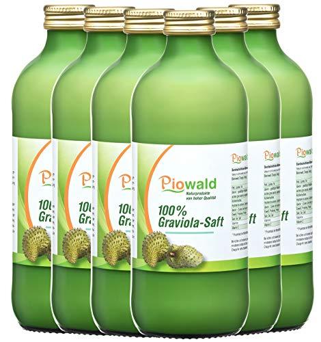 Piowald Graviola Saft - (6x500 ml) Sparpack | 100% Direktsaft ohne Zusätze | Vegan und Laktosefrei | Guanabana, Stachelannone, Guyabano