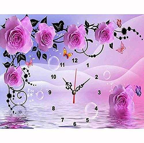 Taladro Redondo Completo 5D Kit De Pintura De Diamantes Diy Mosaico Punto De Cruz Flor Río Reloj Taladro Bordado Decoración Del Hogar 40X50cm