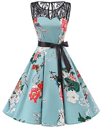 bbonlinedress 1950er Ärmellos Vintage Retro Spitzenkleid Rundhals Abendkleid Green Flower L