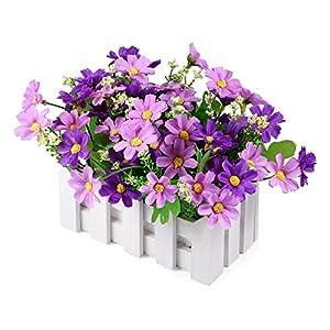 Silk Flower Arrangements Louis Garden Artificial Flowers Fake Daisy in Picket Fence Pot Pack - Mini Potted Plant (Daisy-Purple)