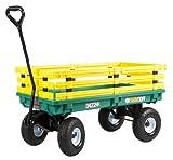 Farm Tuff 04224-FF Green Plastic Deck Wagon 20 Inch by 38 Inch with Yellow Interlocking Removable Racks and 4.10/3.50-4 10 Inch Polyurethane Foam Flat Free Tires
